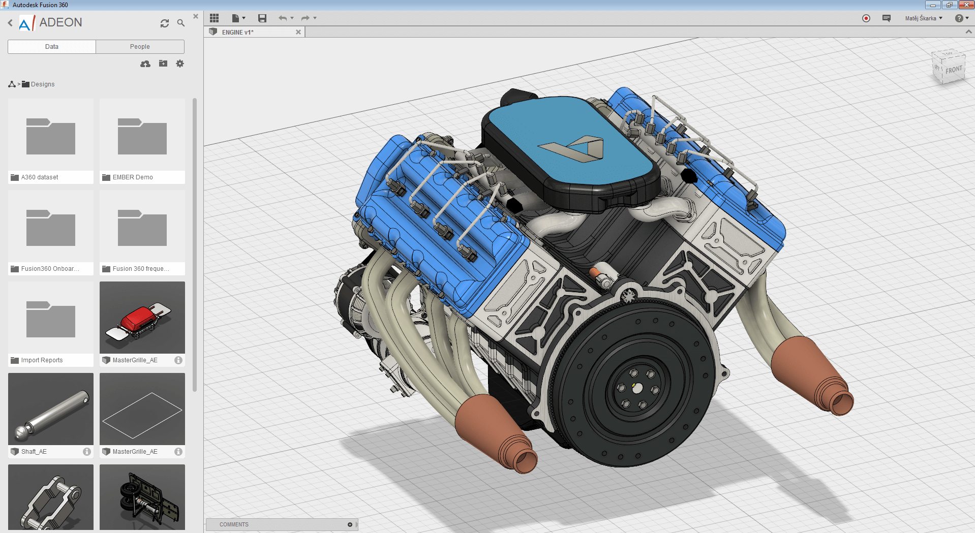 Fusion 360 sestava motoru