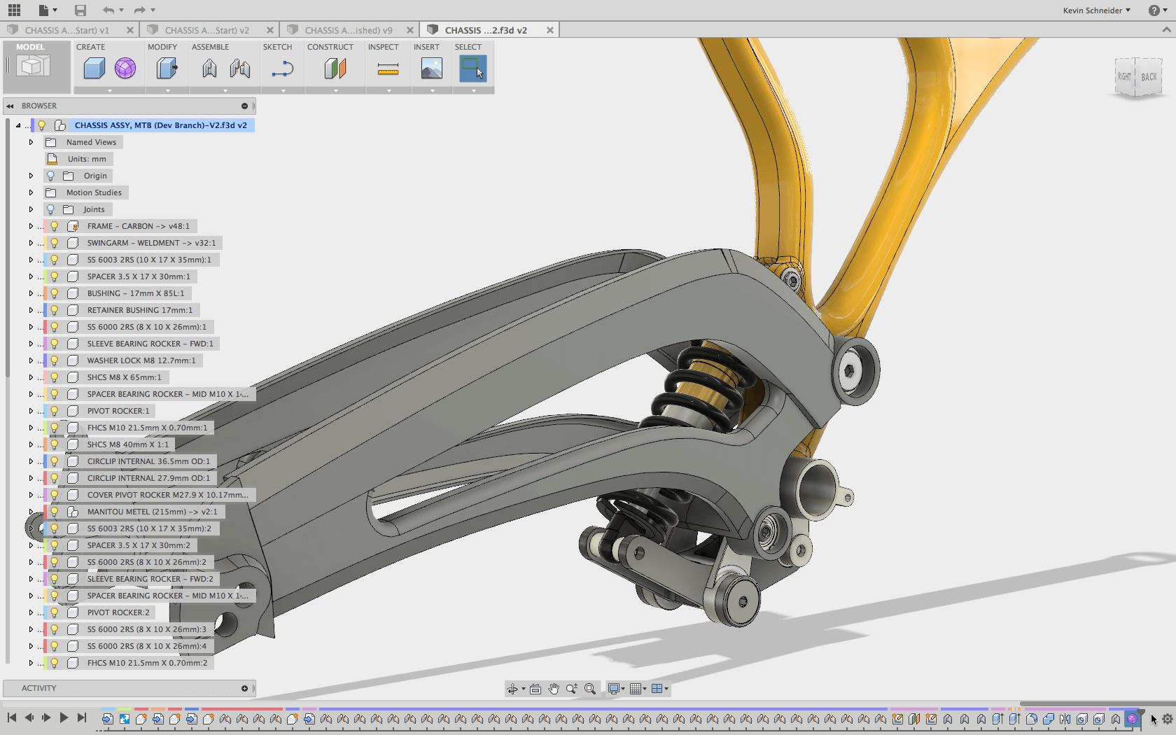 Fusion 360 sestava rámu kola